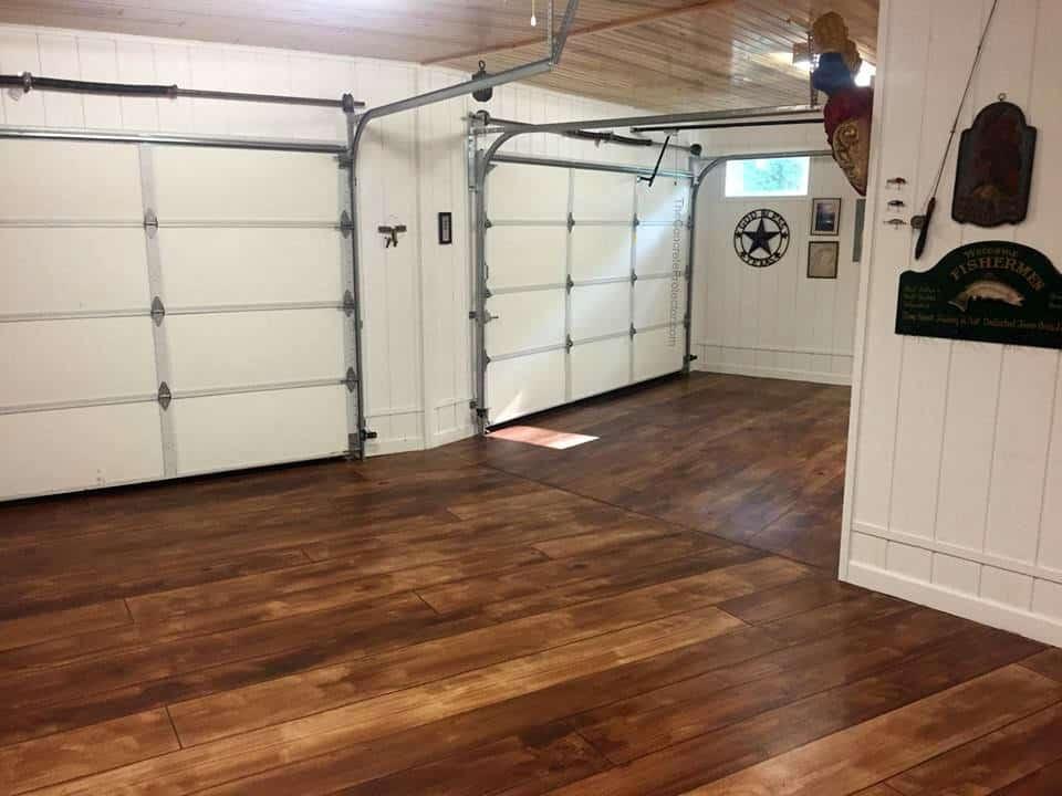 Rustic Concrete Wood Garage Floor